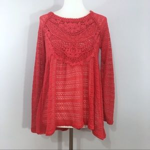 NWT Taylor & Sage Red Crochet Knit Babydoll Top M
